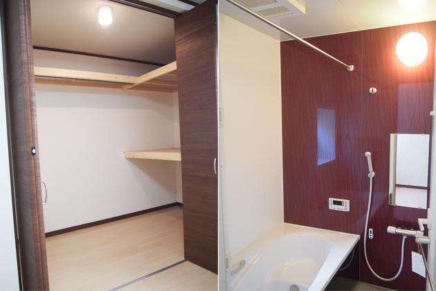 明るいウォークインクローゼット・浴室